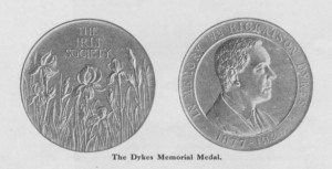 Struck in silver, all Dykes Medals are made in Britain and bear the profile of their namesake, William Rickatson Dykes on one side and a display of iris on the other. Image courtesy of the British Iris Society.
