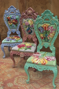 Colorful chairs feature Fassett's floral needlepoint designs. Photo: Steve Lovi. Image Courtesy of Abrams/STC Crafts/Melanie Falick Books.