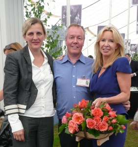 Colin Dickson, Julia Delves Broughton and Kate Jones with 'Alexander's Issie' roses.