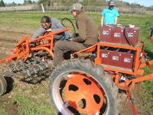 Farm Hack members collaborated on this tractor, retrofitted with an electric engine. Image courtesy of Farm Hack.