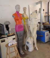 Well-used mannequin models in Tattershall's studio.